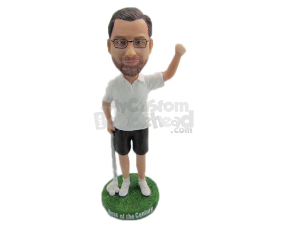 Custom Bobblehead Male Golfer Is Delighted After Hitting A Good Shot - Sports & Hobbies Golfing Personalized Bobblehead & Cake Topper