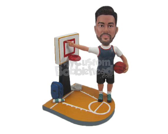 Custom Bobblehead Basketball Player Showing The Tactics To Dunk The Ball - Sports & Hobbies Basketball Personalized Bobblehead & Cake Topper