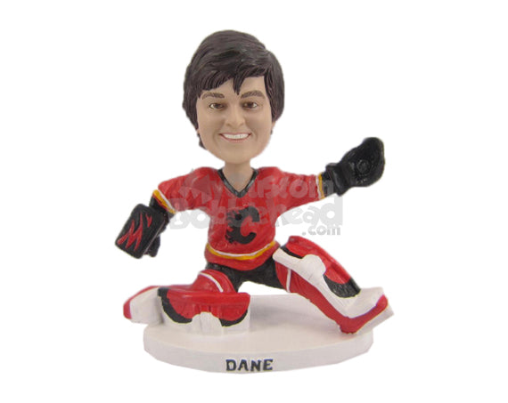 Custom Bobblehead Ice Hockey Goalkeeper Making The Catch Of The Game - Sports & Hobbies Ice & Field Hockey Personalized Bobblehead & Cake Topper