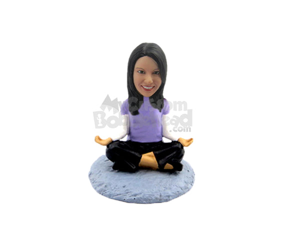 Custom Bobblehead Female Yoga Practitioner Relaxing Every Single Body Muscle - Sports & Hobbies Yoga & Relaxation Personalized Bobblehead & Cake Topper