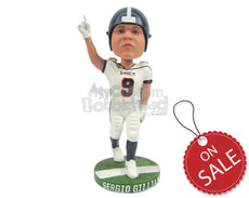 Custom Bobblehead Strong Football Player Celebrating A Touchdown - Sports & Hobbies Football Personalized Bobblehead & Cake Topper