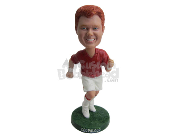 Custom Bobblehead Cool Dude Running To Keep Himself Fit And Healthy - Sports & Hobbies Running Personalized Bobblehead & Cake Topper