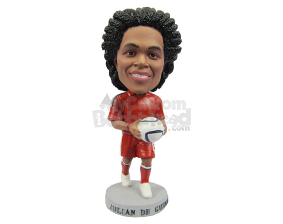 Custom Bobblehead Male Rugby Player With Ball In Hand - Sports & Hobbies Soccer Personalized Bobblehead & Cake Topper