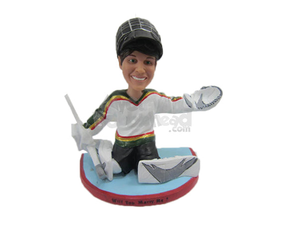 Custom Bobblehead Female Ice Hockey Goalie Making A Catch - Sports & Hobbies Ice & Field Hockey Personalized Bobblehead & Cake Topper