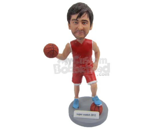Custom Bobblehead Basketball Player With 2 Basketball One In His Hand And One Under His Foot - Sports & Hobbies Basketball Personalized Bobblehead & Cake Topper
