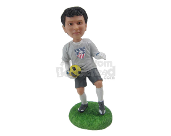 Custom Bobblehead Male Soccer Goalkeeper Catching The Ball - Sports & Hobbies Soccer Personalized Bobblehead & Cake Topper