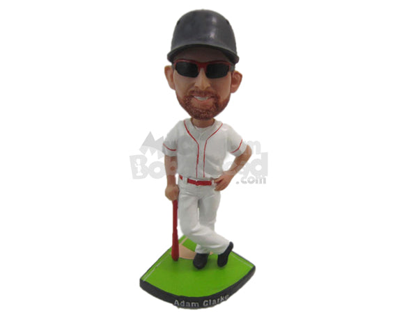 Custom Bobblehead Cool Baseball Dude With His Bat Posing For The Camera - Sports & Hobbies Baseball & Softball Personalized Bobblehead & Cake Topper