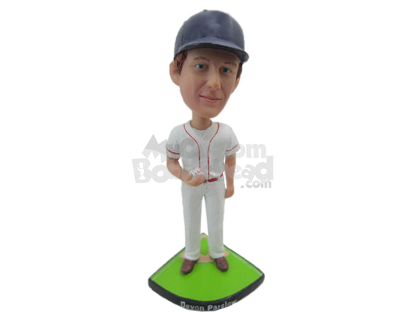 Custom Bobblehead Baseball Dude Holding A Ball In His Hand - Sports & Hobbies Baseball & Softball Personalized Bobblehead & Cake Topper