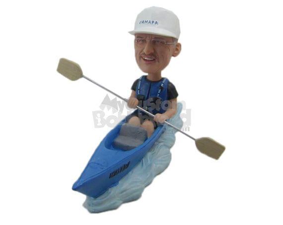 Custom Bobblehead Male Canoeing Aficionado Riding His Fast Canoe - Sports & Hobbies Surfing & Water Sports Personalized Bobblehead & Cake Topper