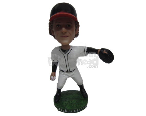 Custom Bobblehead Male Baseball Pitcher Ready To Pitch The Ball - Sports & Hobbies Baseball & Softball Personalized Bobblehead & Cake Topper