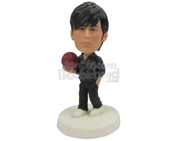 Custom Bobblehead Basketball Aficionado With Basketball In Hand - Sports & Hobbies Volleyball Personalized Bobblehead & Cake Topper