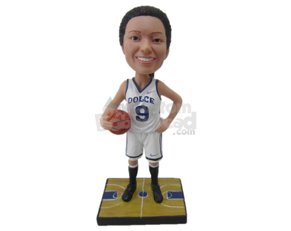 Custom Bobblehead Female Basketball Player With A Ball In Hand - Sports & Hobbies Basketball Personalized Bobblehead & Cake Topper
