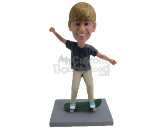 Custom Bobblehead Boy Skate Boarder Wearing Casual Outfit And Doing Some Tricks - Sports & Hobbies Skiing & Skating Personalized Bobblehead & Cake Topper