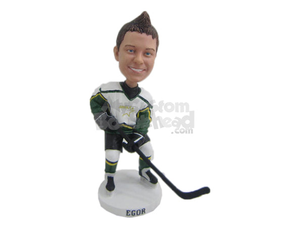 Custom Bobblehead Male Ice Hockey Player With His Hockey Gear On - Sports & Hobbies Ice & Field Hockey Personalized Bobblehead & Cake Topper