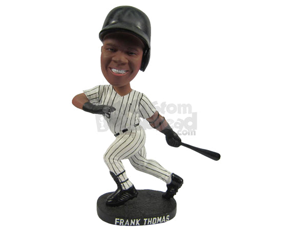 Custom Bobblehead Male Baseball Player Running After Hitting The Ball In The Air - Sports & Hobbies Soccer Personalized Bobblehead & Cake Topper