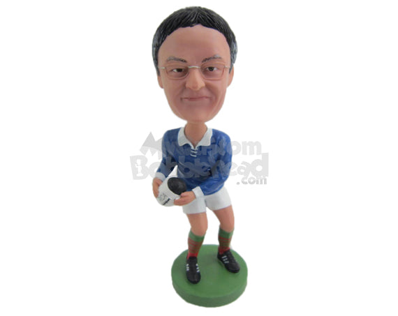 Custom Bobblehead Female Rugby Player Receiving The Ball - Sports & Hobbies Football Personalized Bobblehead & Cake Topper