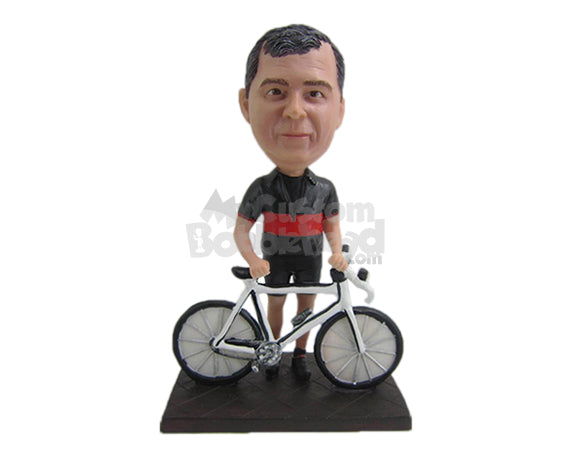 Custom Bobblehead Male Cyclist Posing Behind His Fast Bicycle - Sports & Hobbies Cycling Personalized Bobblehead & Cake Topper