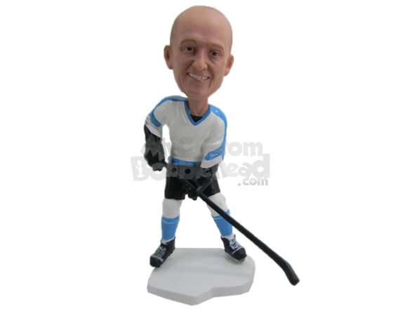 Custom Bobblehead Male Ice Hockey Player With His Hockey In Hand - Sports & Hobbies Ice & Field Hockey Personalized Bobblehead & Cake Topper