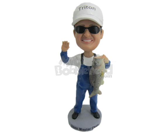 Custom Bobblehead Fisherman Wearing A Long Suspenders Caught A Big One - Sports & Hobbies Fishing Personalized Bobblehead & Cake Topper