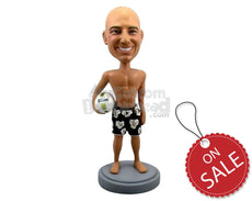 Custom Bobblehead Strong Male Beach Volleyball Player Wearing Shorts With Ball In Hand - Sports & Hobbies Volleyball Personalized Bobblehead & Cake Topper