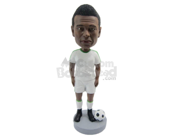 Custom Bobblehead Male Soccer Player Posing For The Camera With His Ball - Sports & Hobbies Soccer Personalized Bobblehead & Cake Topper