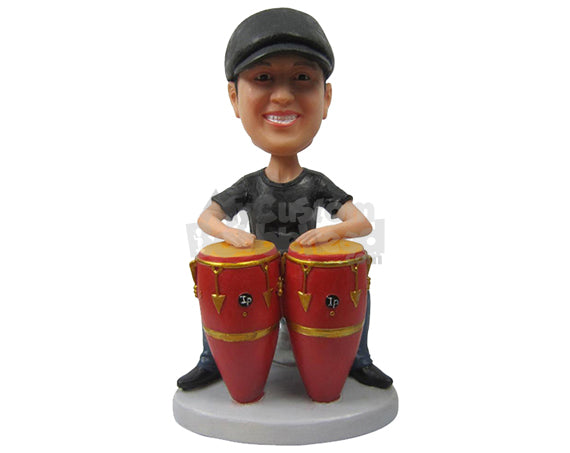 Custom Bobblehead Bongo Player In Casual Outfit Ready To Party - Sports & Hobbies Super Executives Personalized Bobblehead & Cake Topper