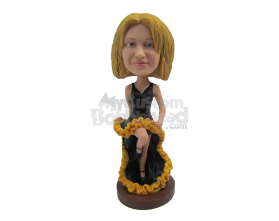 Custom Bobblehead Gorgeous Girl Sitting Wearing A Sexy Gown - Sports & Hobbies Dancing Personalized Bobblehead & Cake Topper