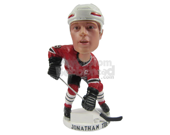 Custom Bobblehead Male Ice Hockey Player Ready To Give The Pass - Sports & Hobbies Ice & Field Hockey Personalized Bobblehead & Cake Topper