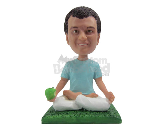 Custom Bobblehead Attractive Male Doing Yoga With A Healthy Apple In Hand - Sports & Hobbies Yoga & Relaxation Personalized Bobblehead & Cake Topper