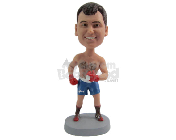 Custom Bobblehead Male Boxer Wearing Shorts Will Punch You Hard In Face - Sports & Hobbies Boxing & Martial Arts Personalized Bobblehead & Cake Topper