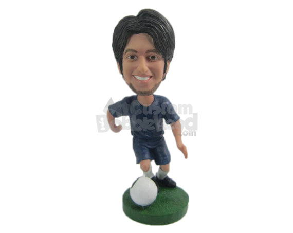Custom Bobblehead Male Soccer Player Doing The Tricks With The Ball - Sports & Hobbies Soccer Personalized Bobblehead & Cake Topper