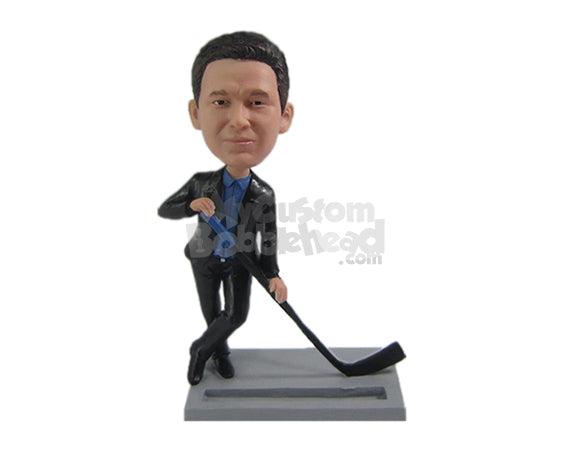 Custom Bobblehead Businessman In Formal Attire With A Ice Hockey Stick - Sports & Hobbies Ice & Field Hockey Personalized Bobblehead & Cake Topper