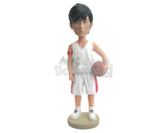 Custom Bobblehead Charming Basketball Player Holing A Ball In His Hand - Sports & Hobbies Basketball Personalized Bobblehead & Cake Topper