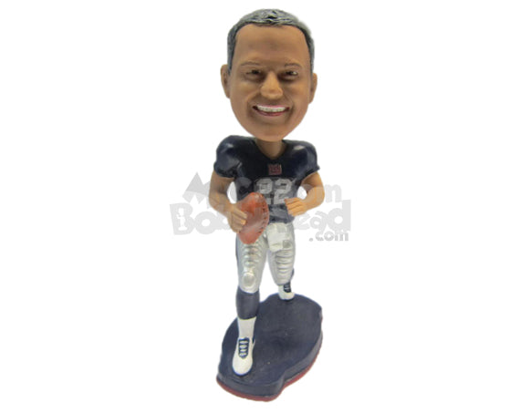 Custom Bobblehead Cool Dude Football Player Running With The Ball In Hand - Sports & Hobbies Football Personalized Bobblehead & Cake Topper