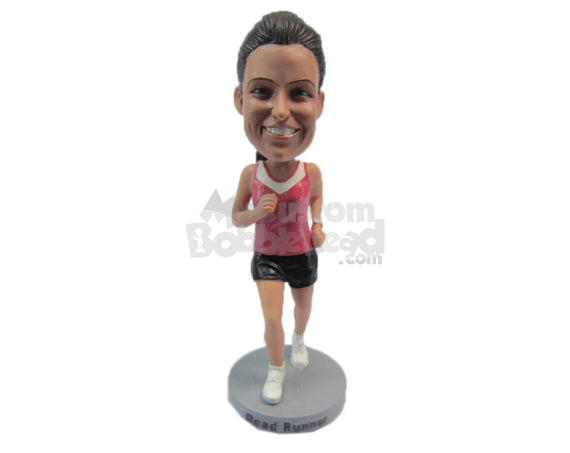 Custom Bobblehead Female Runner Running In The Marathon - Sports & Hobbies Running Personalized Bobblehead & Cake Topper