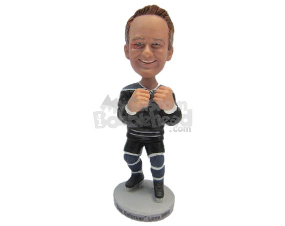 Custom Bobblehead Big Hand Ice Hockey Player Ready To Punch The Crap Out Of You - Sports & Hobbies Ice & Field Hockey Personalized Bobblehead & Cake Topper