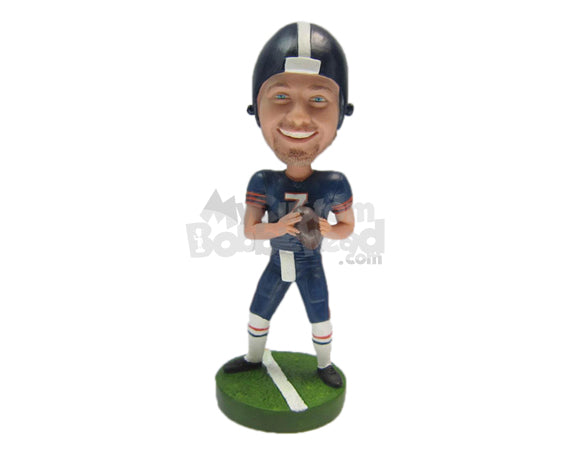 Custom Bobblehead Cool Dude Football Player Catches The Ball With Both Hands - Sports & Hobbies Football Personalized Bobblehead & Cake Topper