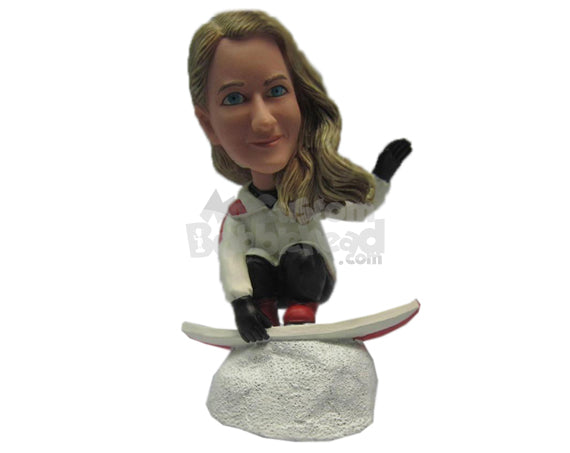 Custom Bobblehead Gorgeous Girl Skating On Ice On Her Ice Skating Board - Sports & Hobbies Skiing & Skiing Personalized Bobblehead & Cake Topper