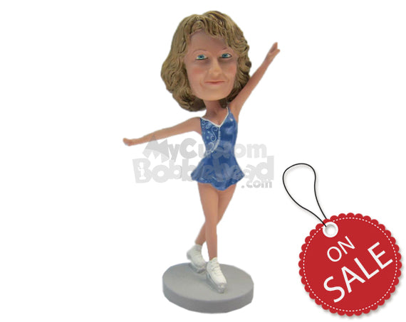 Custom Bobblehead Attractive Female Ice Skater Wearing A Sexy Short Dress - Sports & Hobbies Cheerleading Personalized Bobblehead & Cake Topper