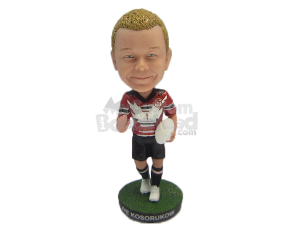 Custom Bobblehead Young Rugby Player Dodging Opponents With Ease - Sports & Hobbies Football Personalized Bobblehead & Cake Topper