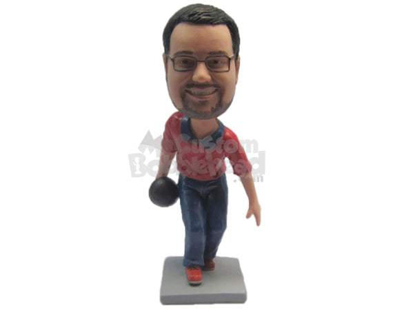 Custom Bobblehead Bowling Dude Wearing Professional Bowling Outfit - Sports & Hobbies Bowling Personalized Bobblehead & Cake Topper