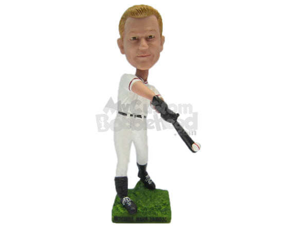 Custom Bobblehead Male Baseball Player Hitting It Out Of The Park - Sports & Hobbies Baseball & Softball Personalized Bobblehead & Cake Topper