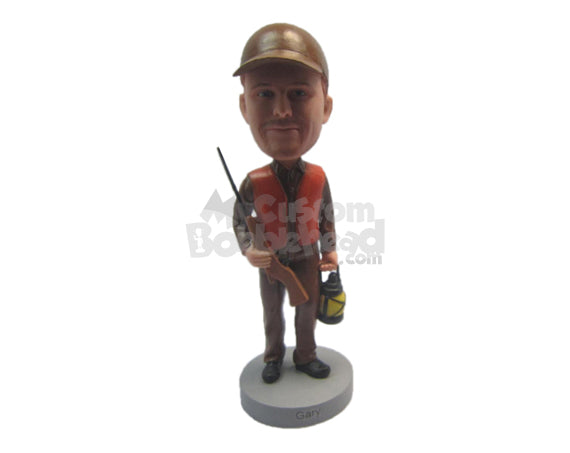 Custom Bobblehead Male Hunter Wearing Vintage Hunting Outfit With A Riffle And Kerosene Lamp - Sports & Hobbies Hunting & Outdoors Personalized Bobblehead & Cake Topper