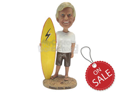 Custom Bobblehead Sexy Male Surfer Wearing T-Shirt And Shorts With Surfing Board In Hand - Sports & Hobbies Surfing & Water Sports Personalized Bobblehead & Cake Topper