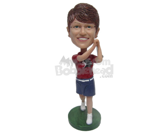 Custom Bobblehead Female Golfer Hitting A Hole In One Shot - Sports & Hobbies Golfing Personalized Bobblehead & Cake Topper