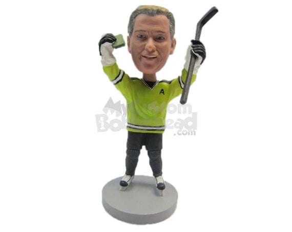 Custom Bobblehead Male Ice Hockey Player Delighted With The Result Celebrating With Both Hands In The Air - Sports & Hobbies Ice & Field Hockey Personalized Bobblehead & Cake Topper
