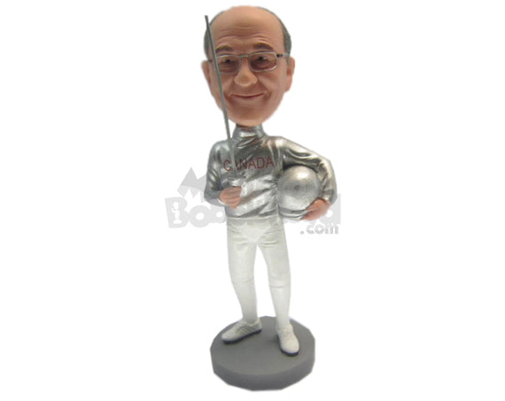Custom Bobblehead Male Fencer In Fancy Fencing Outfit - Sports & Hobbies Fencing Personalized Bobblehead & Cake Topper