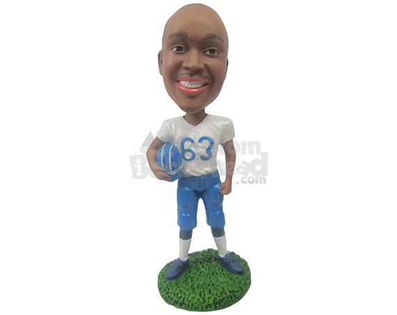 Custom Bobblehead Football Player Holding His Helmet - Sports & Hobbies Football Personalized Bobblehead & Cake Topper