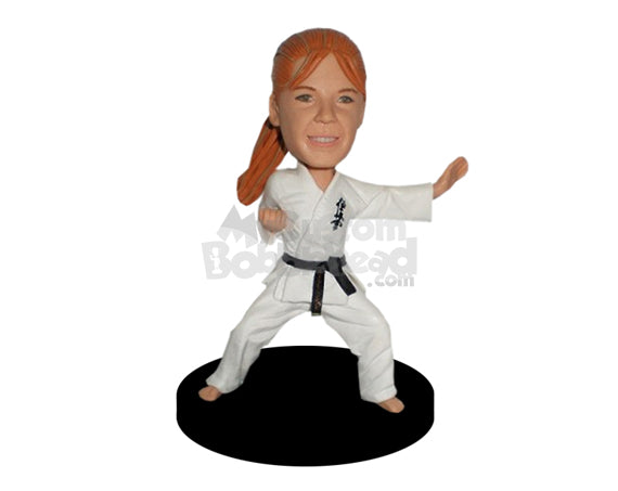 Custom Bobblehead Charming Female Karate Girl Practicing Karate Move - Sports & Hobbies Boxing & Martial Arts Personalized Bobblehead & Cake Topper