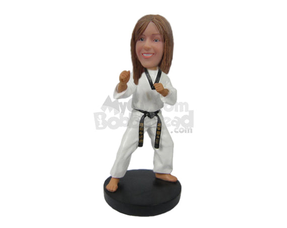 Custom Bobblehead Attractive Karate Gal Ready For A Fight - Sports & Hobbies Boxing & Martial Arts Personalized Bobblehead & Cake Topper